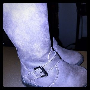 Toddler girl gray knee high boots